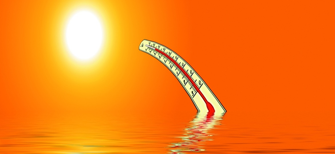 Heat Wave in New Jersey. Bright hot sun and thermometer bending