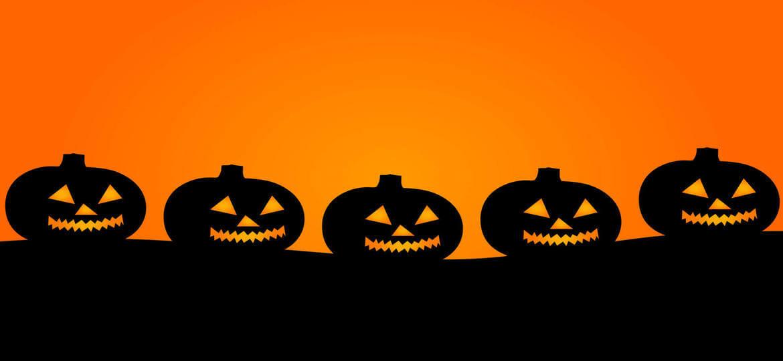 Halloween Top Lawsuits - Five pumpkins jack-o-lanterns with orange background
